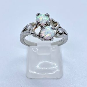 Fire Opal Ring 925 Solid Sterling Silver Stamped